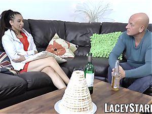 LACEYSTARR - ebony stunner shares lollipop before internal ejaculation
