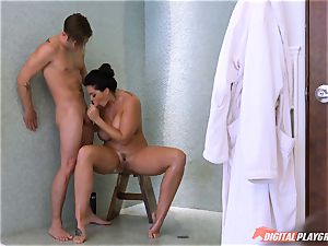 Alison Tyler caught showering then cooch fucked