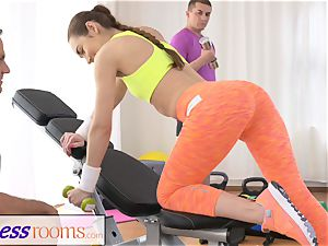 FitnessRooms teenage honey gets pummeled after her workout