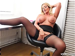 ash-blonde cougar plays with humungous milk cans boinks honeypot in office