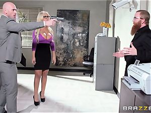 Bank robbing babe Bridgette B smashes in front of the boss