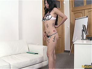 Pierced Thai vagina gets lots of exploitation in the office
