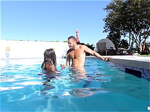 Ana Foxxx pool screw with the draped Danny Mountain