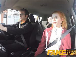 faux Driving school uber-cute red-haired Ella Hughes pounds