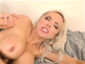 super-steamy platinum-blonde Nina Elle slammed stiff by Tommy Pistol
