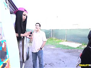 Raven Wylde and Bethany Benz facial in ice fluid truck get honeypot boinked
