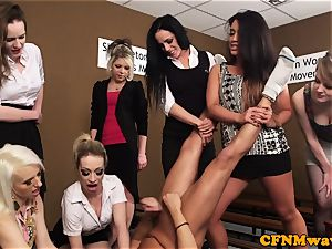CFNM femdoms abjecting man sausage in group