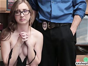 naughty Shoplifter Gracie MayGreen gets her vulva destroyed