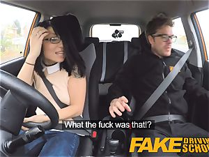 faux Driving school nasty ride for petite british asian