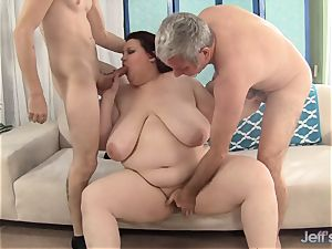 cute plus-size Is double Teamed by two humungous fuck-sticks