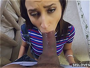Open minded stepsister Ashley lets her brother play with her playthings and butt