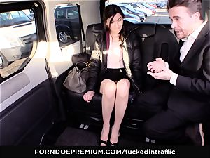 humped IN TRAFFIC - Russian sweetie in tough car pulverize
