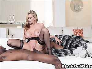 ash-blonde milf porking a black guy