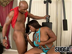 fat Tittied ebony momma Skyy dark-hued bounces on hard-on