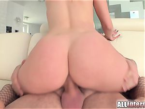 Tall dame Mira's cunt is porked and crammed with cum