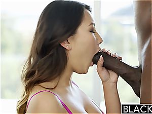 BLACKED tight asian Jade Luv shrieks on meaty dark-hued rod