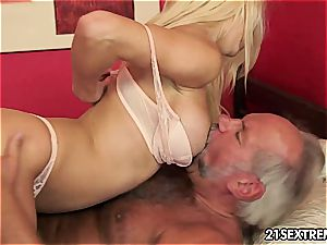 Sienna tugging his senior dick