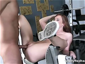 red haired stupid gets poked firm in the gym