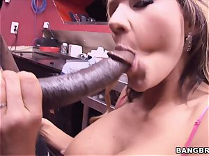 Nikki Sexx packed up by a thick black chisel