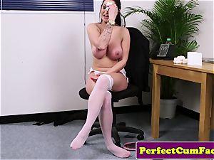 huge-boobed cum liking babe fellating before facial