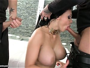 spunky mega-slut Aletta Ocean gets two hard chubs inhaling it steamy one at a time