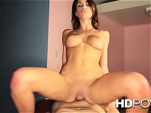 HD pov super-fucking-hot black-haired with enormous bosoms luvs to juggle weenie