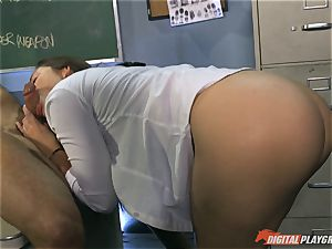 wonderful brown-haired Dani Daniels pulverized on the desk