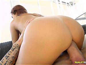 tattooed muscle wedges his spunk-pump into kinky red head latina Gala dark-skinned