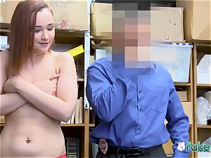 April lies on desk for officer to deep-throat her puss until they spunk