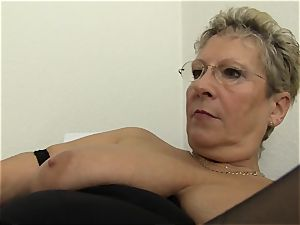 hardcore Omas - ash-blonde German grandma enjoys filthy office bang-out