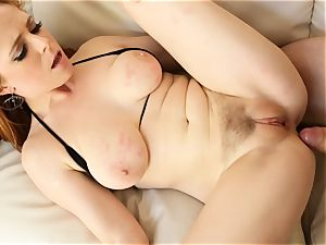 red-haired Penny Pax boinks with her fur covered cootchie