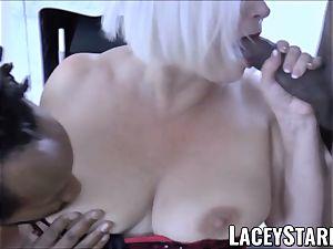LACEYSTARR - big black cock double team works on crazy grandma