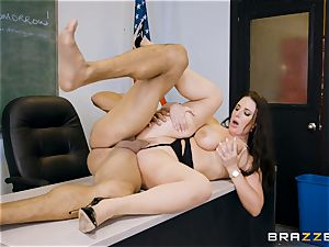 lecturer Angela white filled ball sack deep in her classroom