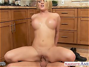 huge-titted wife Krissy Lynn eating jism in the kitchen