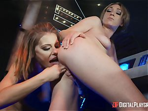 vagina loving lesbos Adriana Chechik and Lily Labeau unload on board