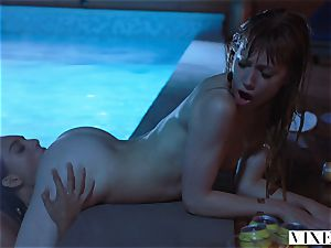 VIXEN Janice Griffith and Ivy Wolfe Sneak Into Backyard For Nighttime Pool joy