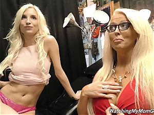 Negro with a lamppost instead of penis drills huge-boobed milf and her daughter