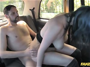 fake cab horny duo have random bang-out