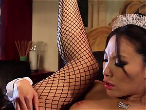 filthy Maid Asa Akira analled by the manager