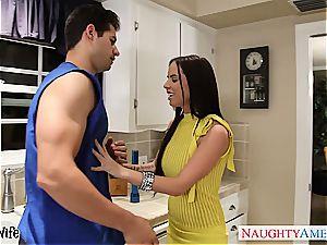 mischievous housewife drills the neighbor in her kitchen