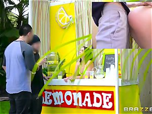 Lemonade saleswoman Kristina Rose gets her caboose plowed during the working day
