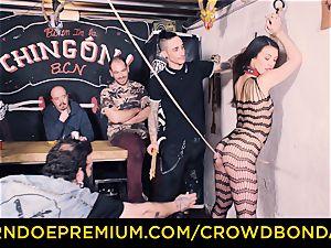 CROWD bondage - Tiffany gal gets smacked in sadism & masochism pound