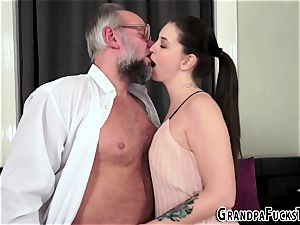 tatted stunner rides grandfather