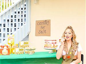 Scout babe Blair Williams sells her torrid cookies