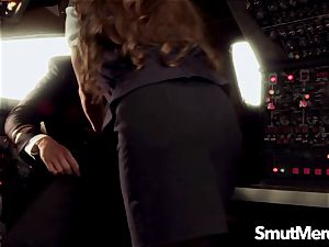 Stewardess Madelyn Marie romps the Pilot