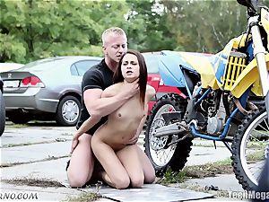 slender Czech hottie gets poked near the garage